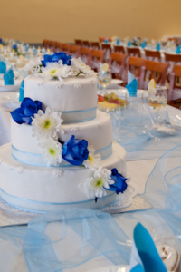 wedding cake on table at reception